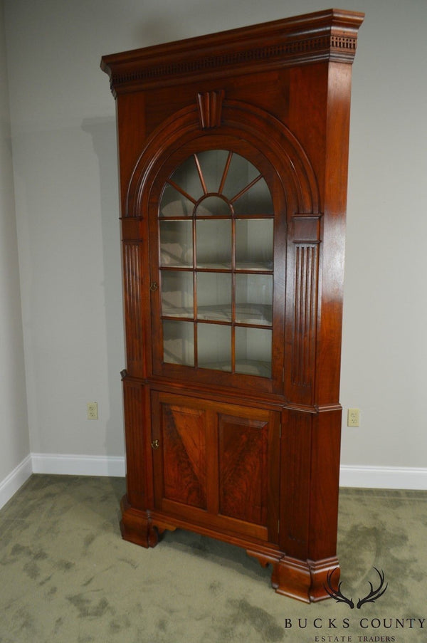 Kendl Monn Irion Co. Chippendale Style Large Walnut 2 Piece Corner Cabinet