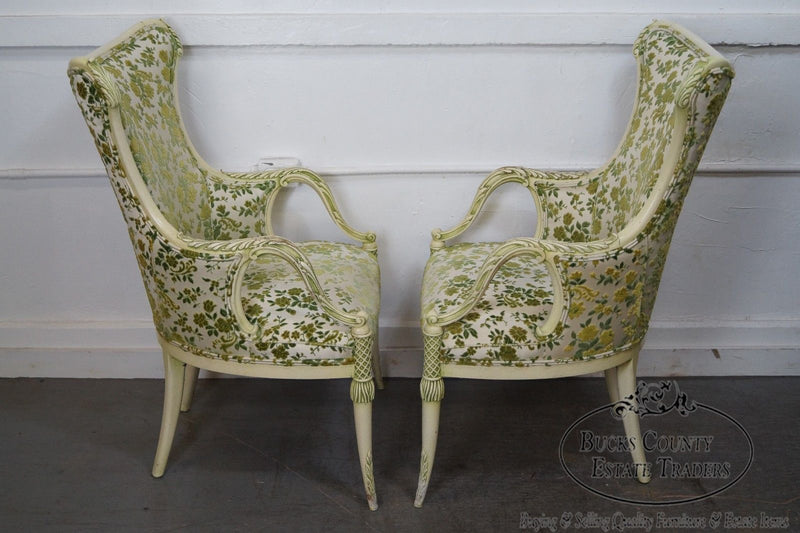 Vintage Hollywood Regency Pair of Paint Frame Fireside Host Chairs