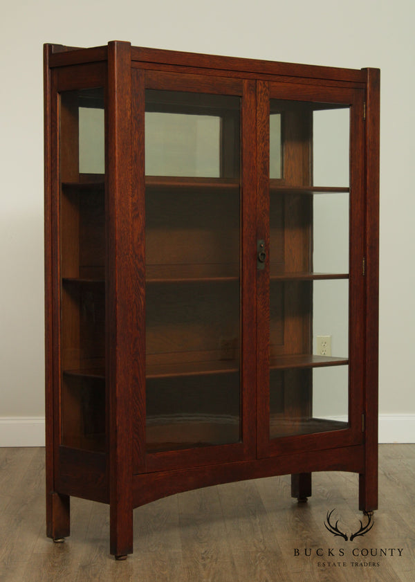 Antique Mission Oak 2 Door China Cabinet, Bookcase