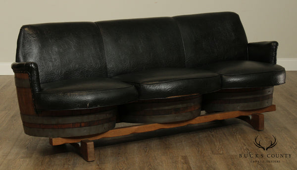1960's Vintage Oak Tennessee Whiskey Barrel Sofa, Black Vinyl