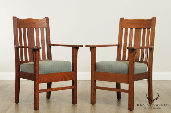 Antique Mission Oak Pair Armchairs