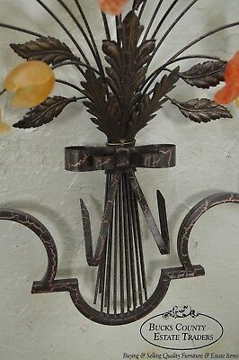 C. Jere Signed Pair of Metal & Glass Flower Hanging Wall Sculptures