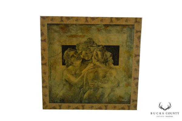 Italian Renaissance Style Large Lacquered Painting Wall Art