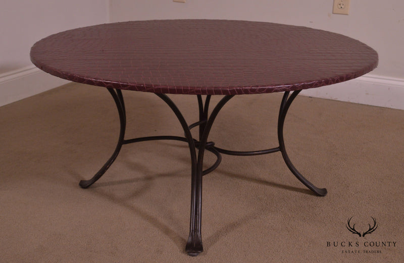 "Custom Quality 36"" Round Faux Reptile Skin Top Iron Base Coffee Table"