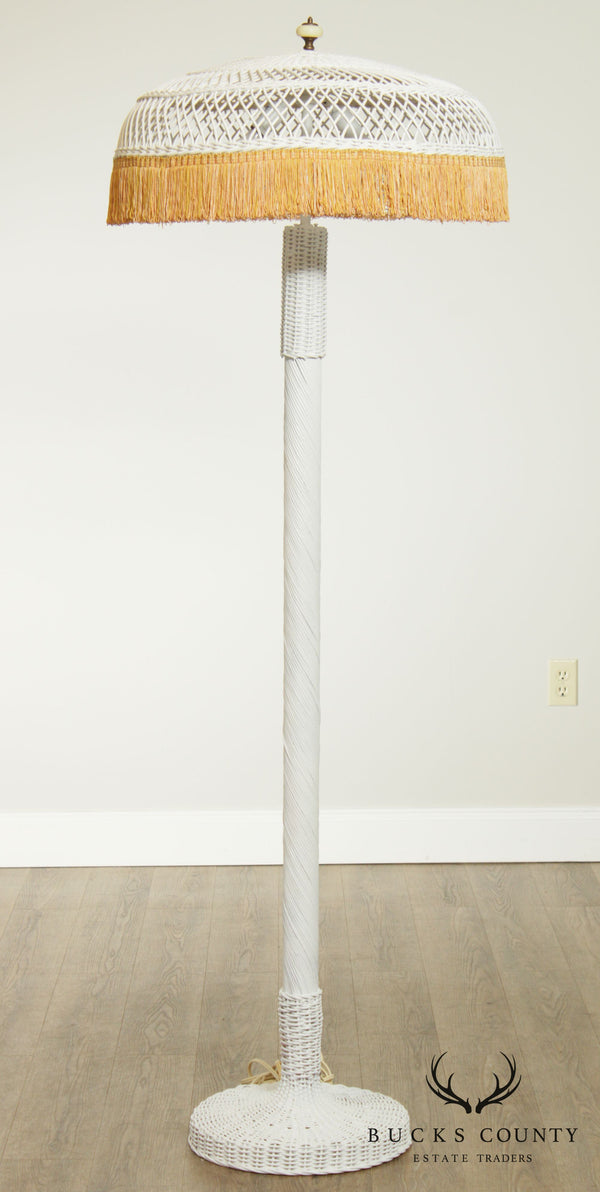 Antique Victorian White Wicker Floor Lamp