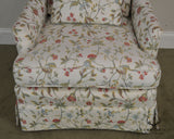 Custom Quality Floral Upholstered Living Room Club Chair with Ottoman