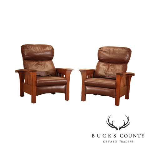Stickley Mission Collection Oak Pair Brown Leather Bow Arm Morrris Recliners