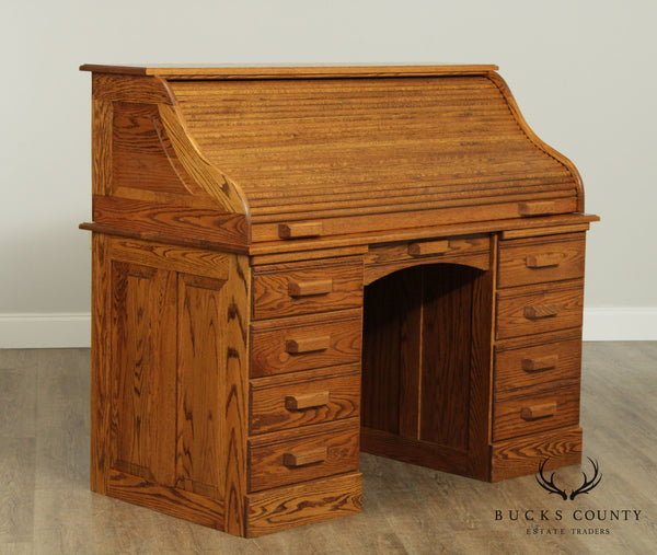 Woxall Woodcraft Custom Oak Victorian Style Roll Top Desk