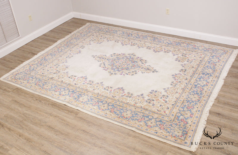 Vintage Hand Woven Ivory and Blue Kirman 8' x 12' Room Size Rug