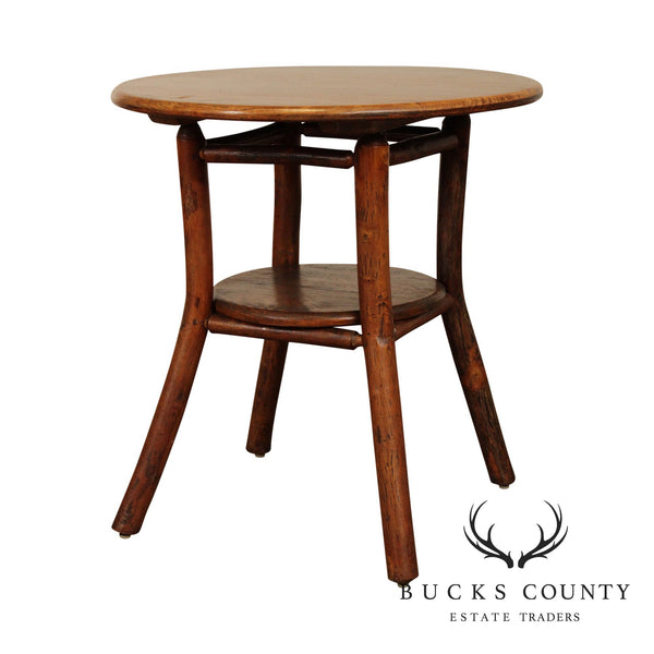 Old Hickory Antique Round Oak Top Side Table