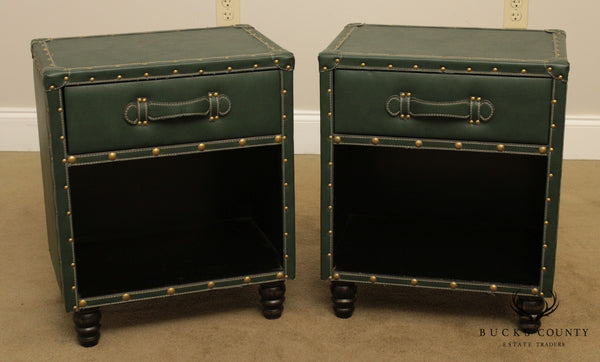 Green Leather Wrapped Pair One Drawer Nightstands