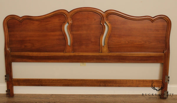 John Widdicomb French Country Louis XV Style Vintage Fruitwood King Headboard