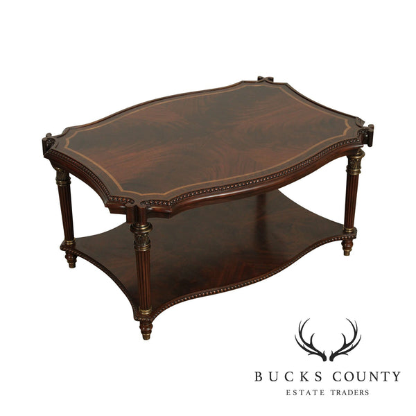 Maitland Smith Regency Style Flame Mahogany 2 Tier Coffee Table