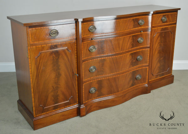 Federal Style 1940's Custom Flame Mahogany Inlaid Buffet Sideboard