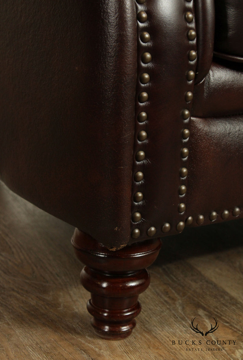 Distressed Brown Leather Loveseat