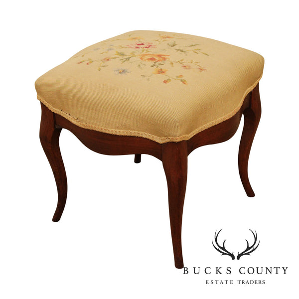 Antique French Louis XV Style Walnut, Needlepoint Footstool