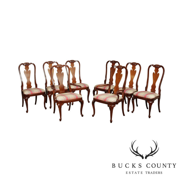 Hekman Queen Anne Style Set 8 Yew Wood and Cherry Dining Chairs