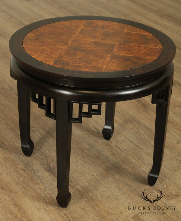 Ethan Allen Asian Style Burlwood Round Side Table