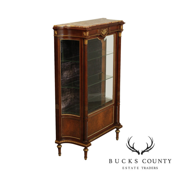 French Louis XVI Style Antique Walnut Partial Gilt, Marble Top Display Vitrine Cabinet