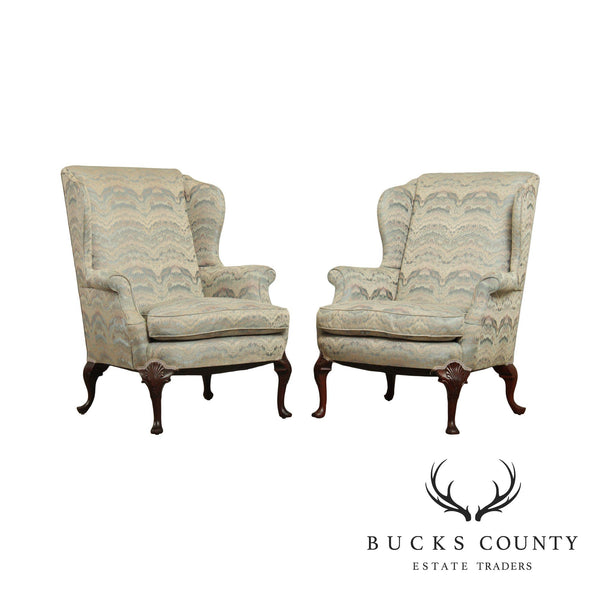 Custom Quality Mahogany Queen Anne Style Wingback Chairs