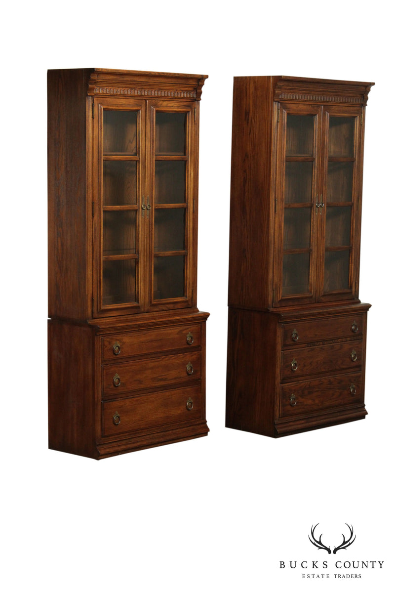 Ethan Allen Royal Charter Oak Pair Bookcases with Drawers