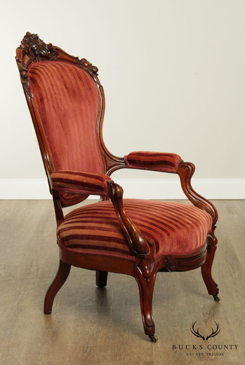 Victorian Antique Carved Walnut Fireside Armchair