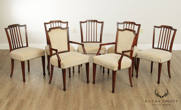 Sheraton Style 1940's Vintage Custom Quality Set 7 Mahogany Dining Chairs