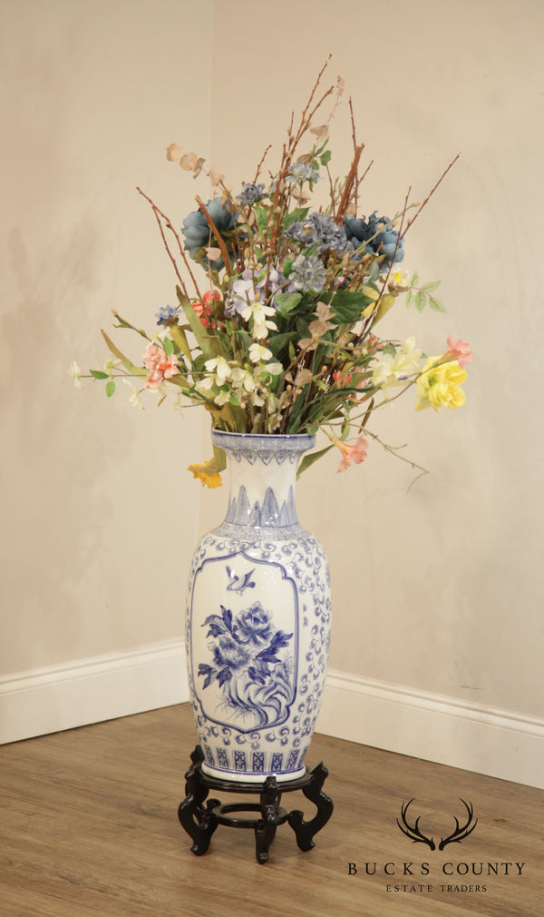 Blue & White Chinese Porcelain Vase on Stand