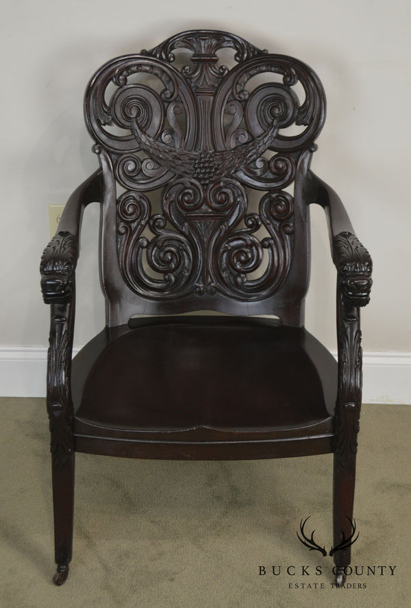 Antique 19th Century Renaissance Carved Mahogany Arm Chair