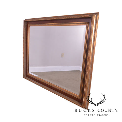Timeless Rectangular Gilt & Wood Finished Beveled Wall Mirror