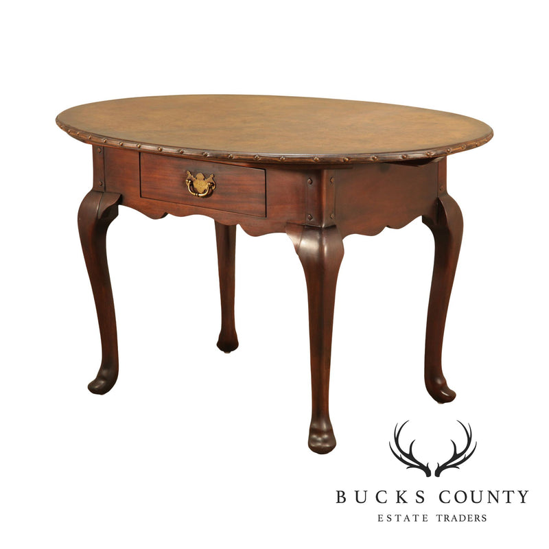 Ralph Lauren Mahogany George III Style Oval Leather Top Library Table (B)