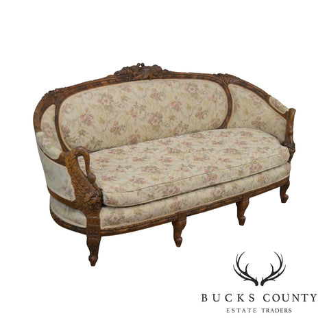 French Louis XV Style Antique Fine Swan Carved Walnut Frame Sofa