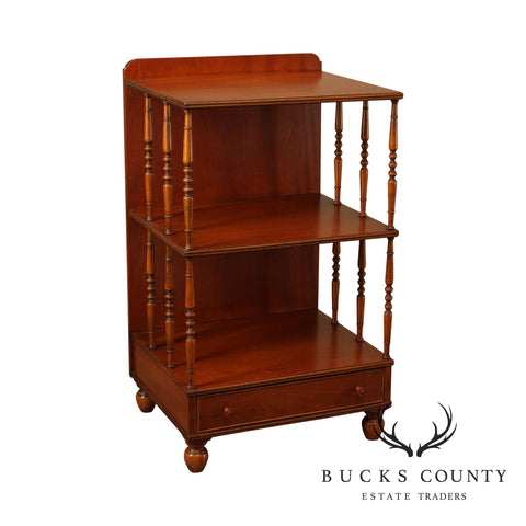 English Regency Style Vintage Custom Quality Low Bookcase Side Table w/ Drawer