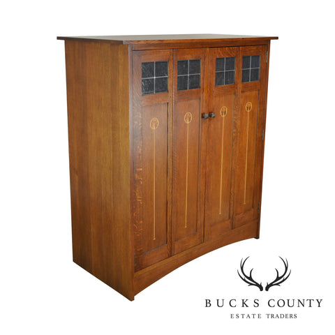 Stickley Mission Collection Harvey Ellis Inlaid Oak TV Entertainment Armoire Cabinet