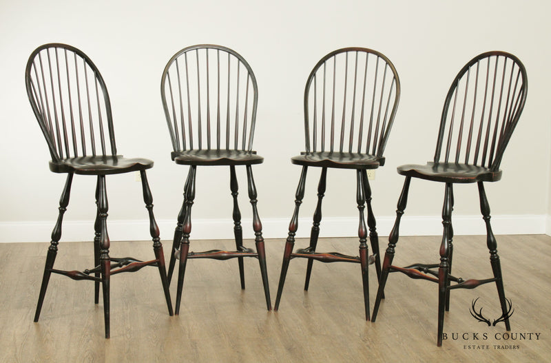 Quality Bench Made Set 4 Crackle Painted Windsor Barstools Chairs