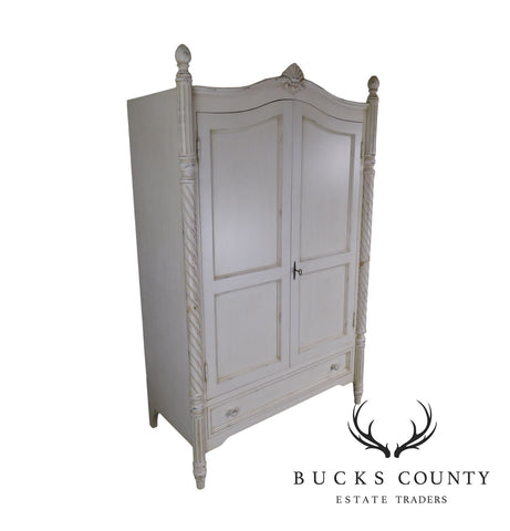 Swedish Style Shabby White Painted 2 Door Armoire Cabinet