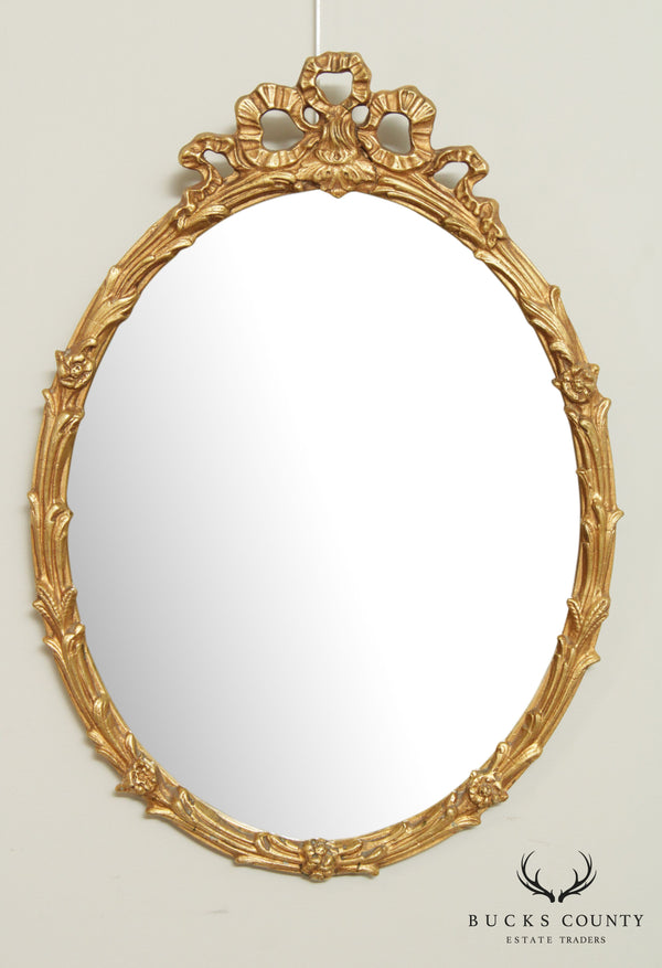 Friedman Brothers Gilt Ribbon Carved Oval Wall Mirror