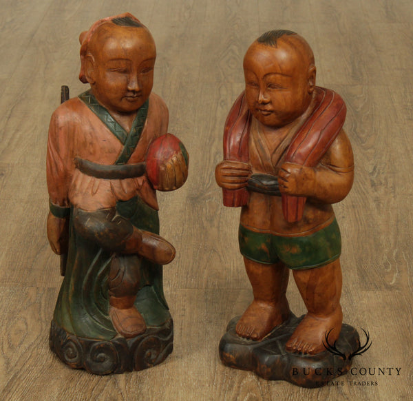 Vintage Pair Chinese Carved Figures