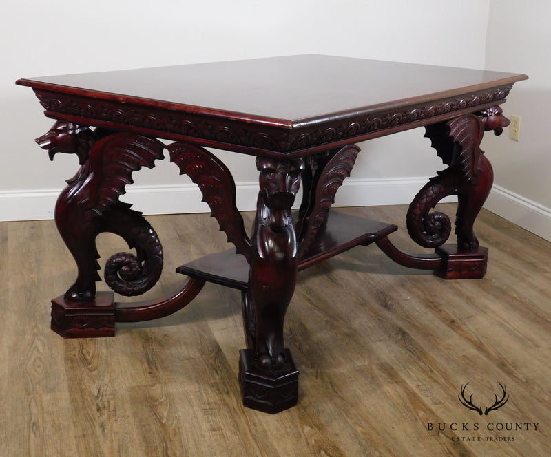 Renaissance Style Winged Griffin Carved Mahogany Library Table Desk
