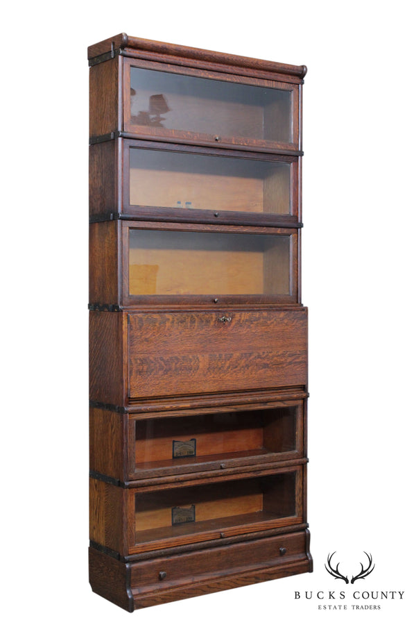 Globe Wernicke Antique Oak 6 Stack Barrister Bookcase with Desk