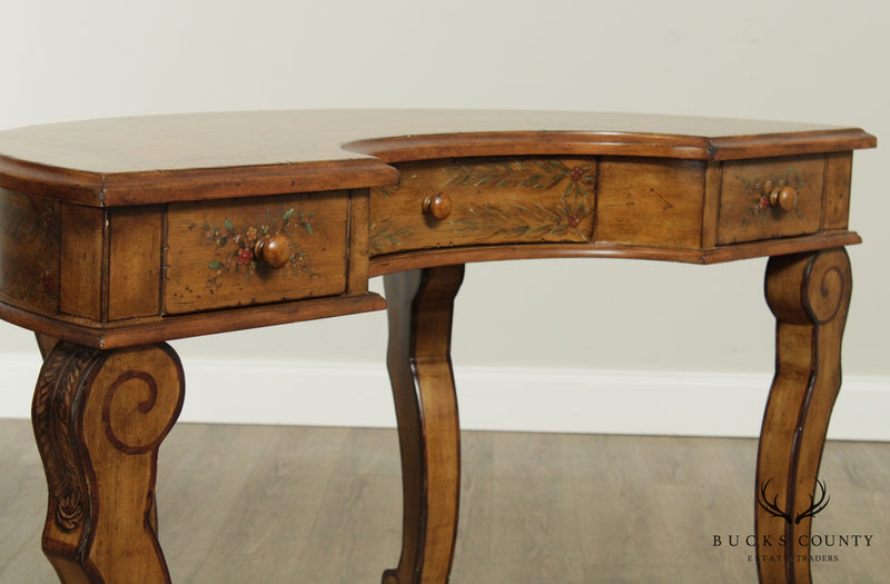Paint Decorated Demilune 3 Drawer Writing Desk