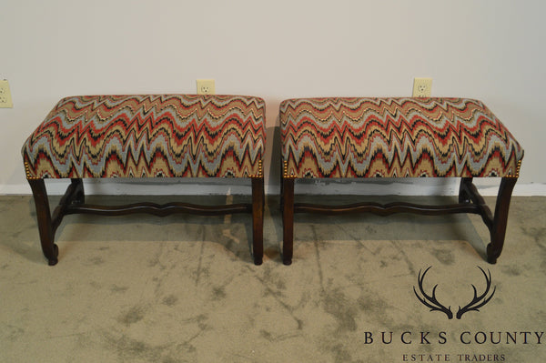 French Louis XIII Style Vintage Pair of Flame Stitch Os de Mouton Benches