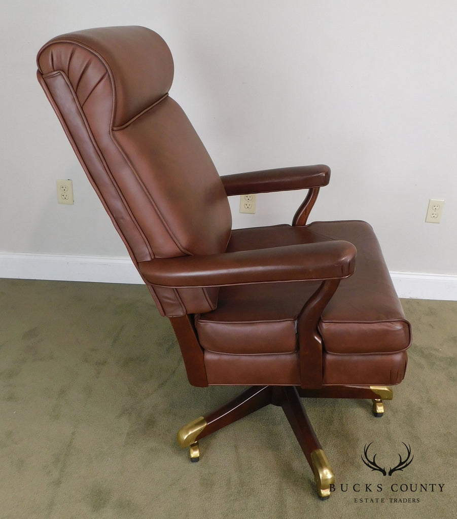 Amazing Gunlocke Brown Leather Executive Desk Chair Bucks County Pabps2019 Chair Design Images Pabps2019Com