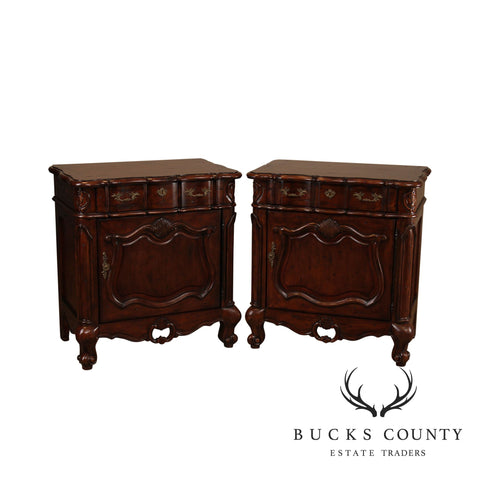 The Sansegal Collection French Country Distressed Cherry Pair Nightstands