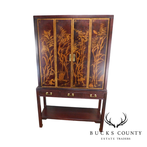 Chinoserie Painted Vintage Bar Liquor Cabinet Armoire by National Mt. Airy