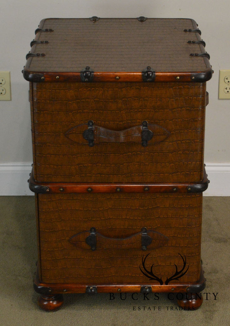 Campaign Style Faux Crocodile Leather Wrapped Mahogany 2 Drawer File Cabinet