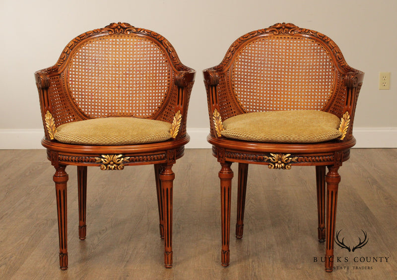 French Louis XVI Style Quality Pair Double Caned Bergere Chairs