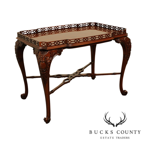 Widdicomb Georgian Style Carved Mahogany Pierced Carved Tea Table