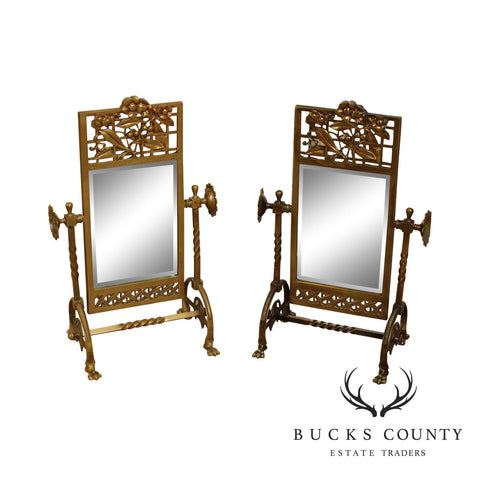 Aesthetic Movement Antique 1880's Victorian Brass Pair Cheval Beveled Vanity Mirrors