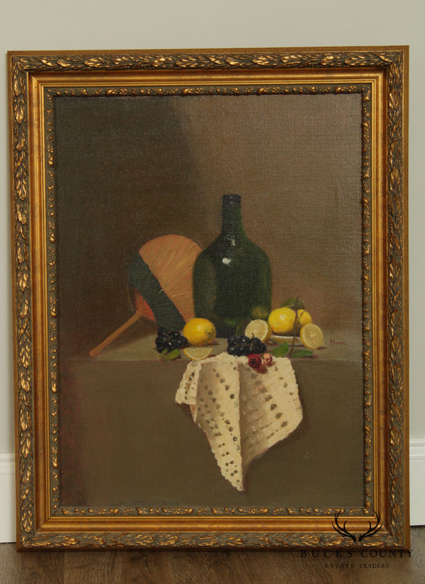 Framed Oil Painting Still Life, Demijohn Bottle, Lemons, Grapes & Rose
